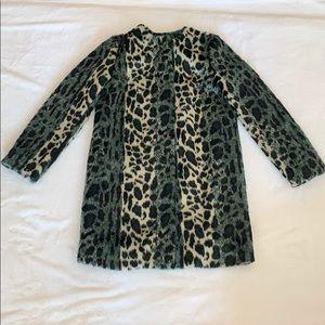 Faux Fur green/blue leopard print jacket